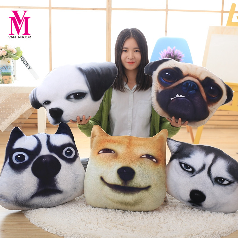Simulation Funny Dog Head Pillow Cushion Plush Toy Lifelike Doll Home Decoration Birthday Gift Send Male And Female simulation creative plush pillow staffed funny eye owl plush toy kids baby doll cute soft sofa cushion interesting birthday gift