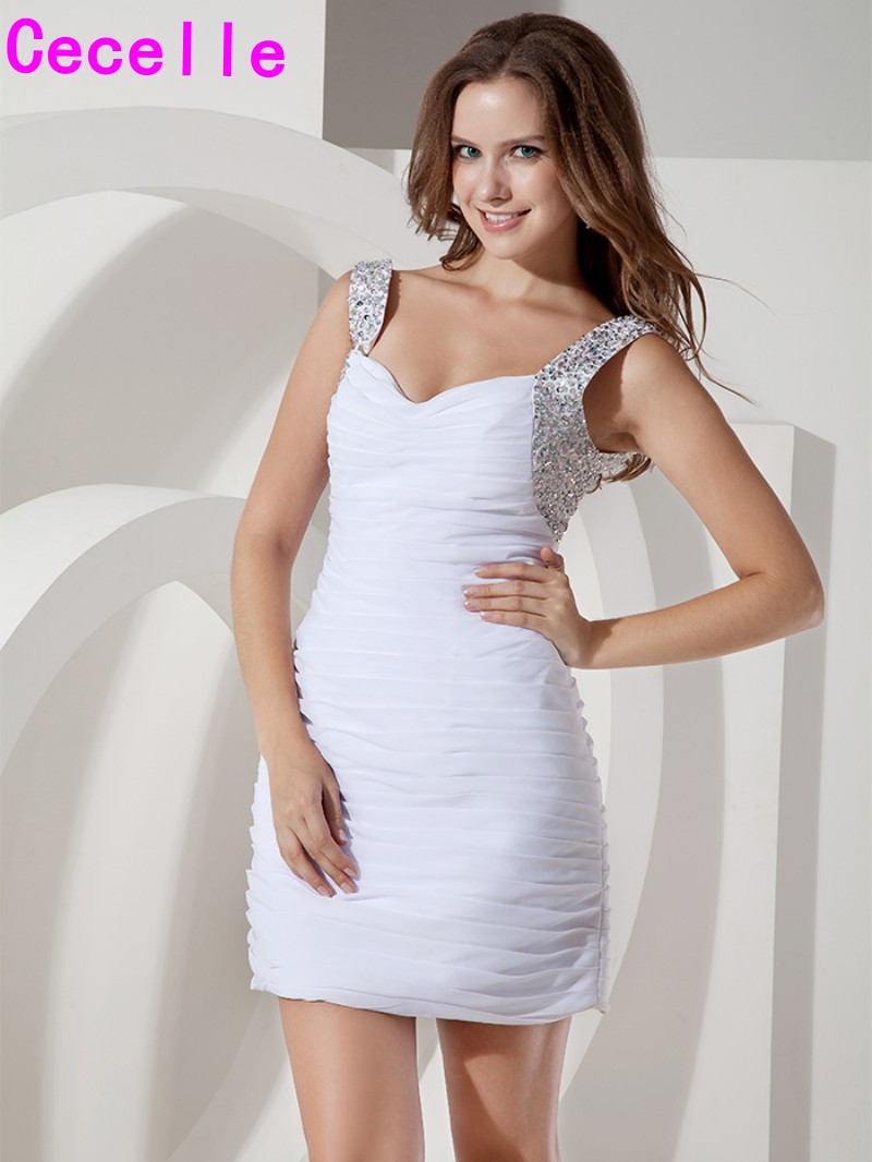 White 2017 New Short Cocktail Dresses Sparkly Beaded Ruched Organza ...