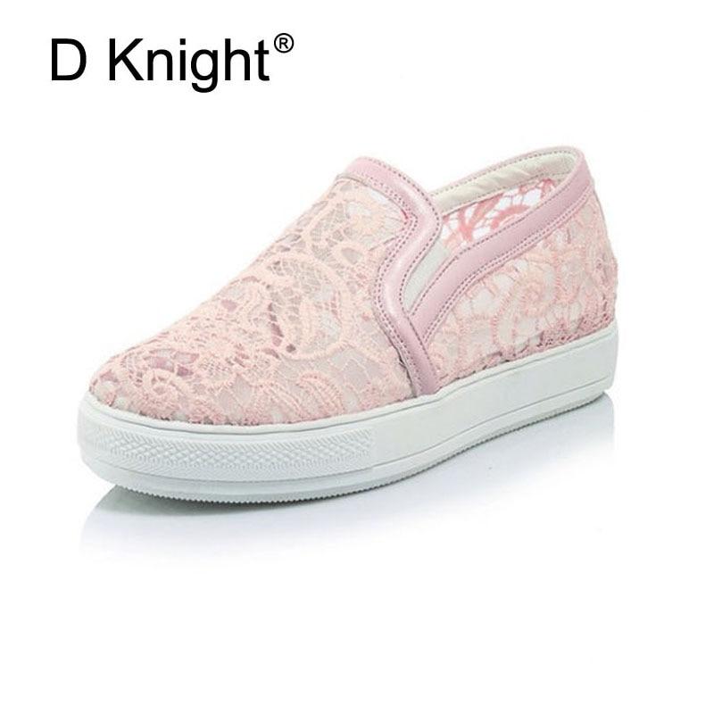 Dam Casual Breathal Platform Skor Fashion Round Toe Slip-On Lace - Damskor