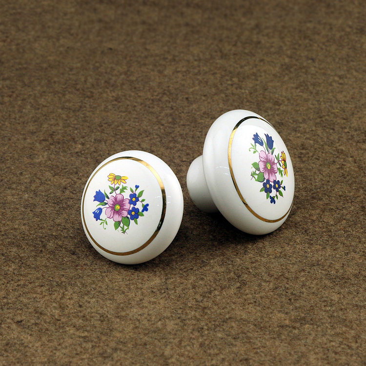 10pcs Flower Print White Ceramic Cabinet Porcelain Knobs