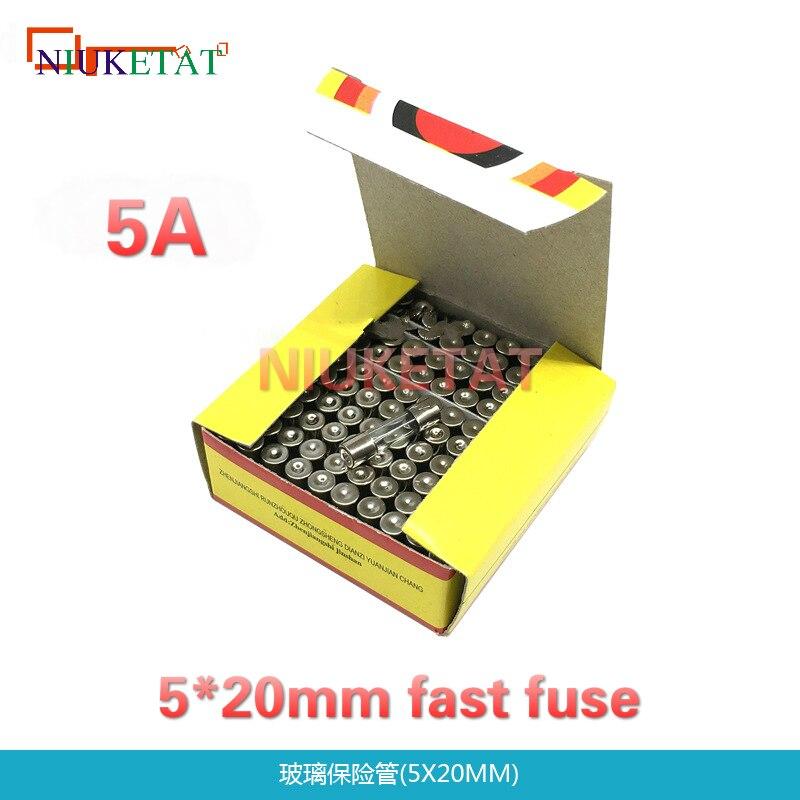 100pcs/box 5*20mm 5A 250V Fast fuse 5*20 F5A 5000mA 250V Glass Fuse 5mm*20mm New and original cbb 250v225j 250v 225k 225j 2 2uf cl21 20mm