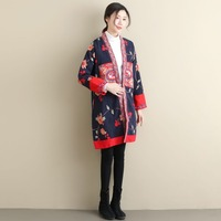 2019 Spring Embroidery Traditional Kimono Jacket Vintage Chinese Long Coat Cotton Linen Cardigan Overcoat Ethnic Garment DL 02