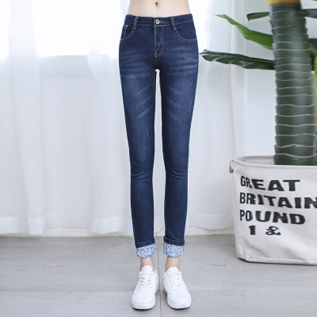 Fashion Jeans woman spring autumn slim casual jeans mid waist washing color denim pencil pants good quality cuffs jean trousers