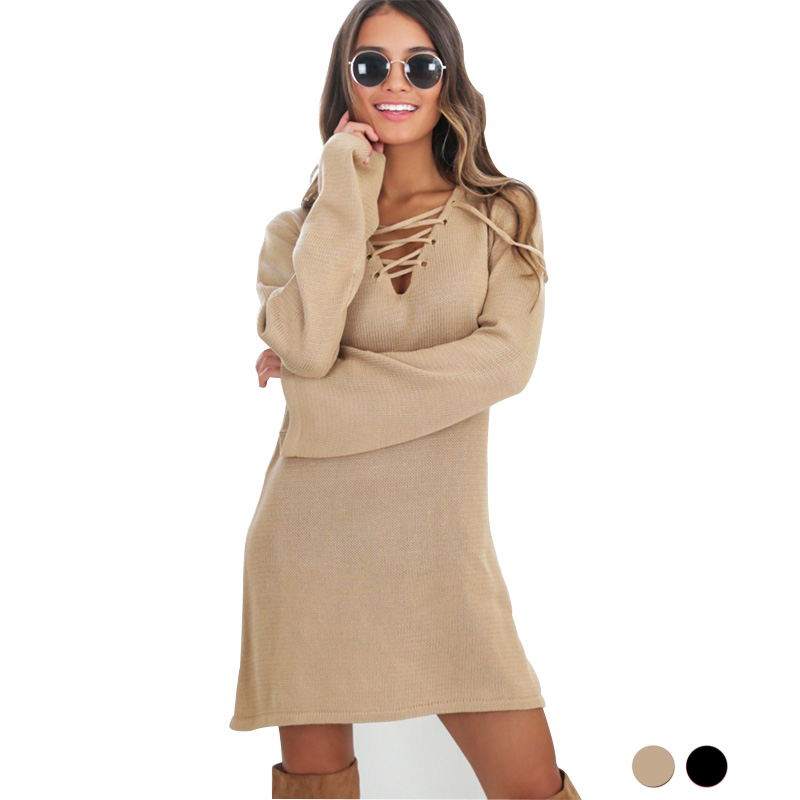 Autumn Winter Dress Women Black Office Sweater Vestido Curto Cheap Clothes China Knitted Tunic African Dresses