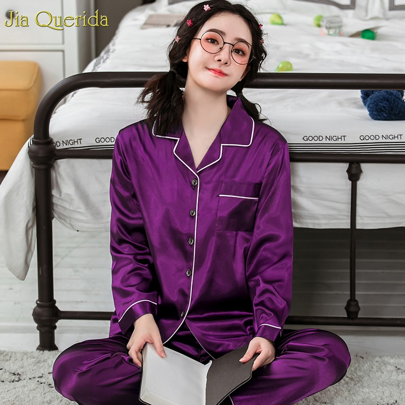 Satin Silk Night Suit Women Glossy Purple Plus Size Pajamas Spring Autumn Womens Pajama Set Two Piece Sleepwear Home Clothing