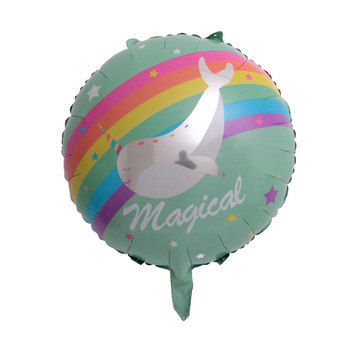 Wreath Unicorn Foil Round Balloon