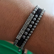 New Anil Arjandas Men Bracelets Bangle Set Jewelry 3Pcs/Sets 8mm Black CZ Ball 4/5mm Copper Beads Braiding Macrame Bracelet Sets