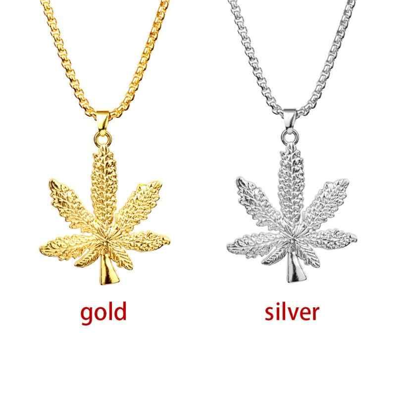 Kobiety modny naszyjnik złoty posrebrzany kannabiss mały chwast zioło urok klon wisiorek z listkiem naszyjnik Hip Hop biżuteria