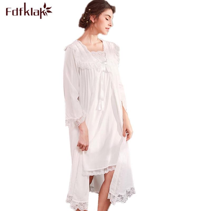 Fdfklak New two pieces nightdress sweet lace sleepwear robe women spring autumn long nightwear robes set female lounge set