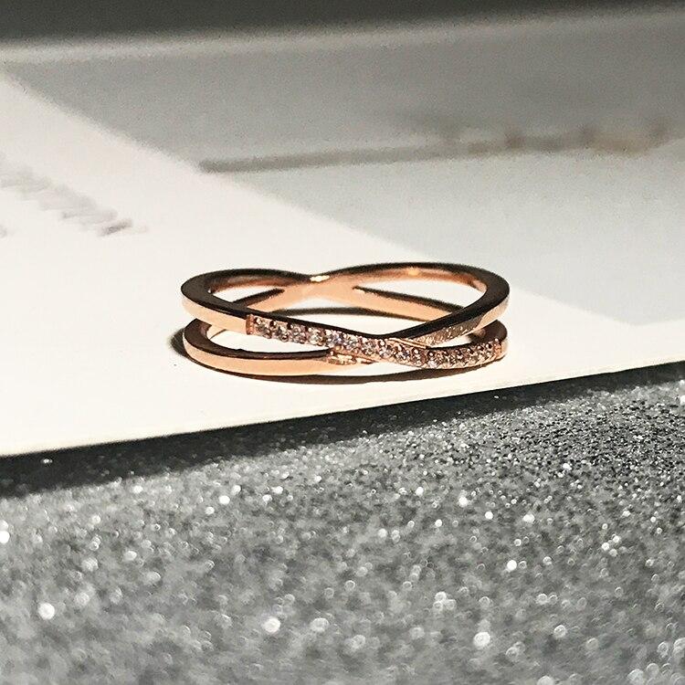 Женское кольцо с крестиком YUN RUO, ювелирное изделие из титановой стали цвета розового золота с цирконием, подарок на день рождения