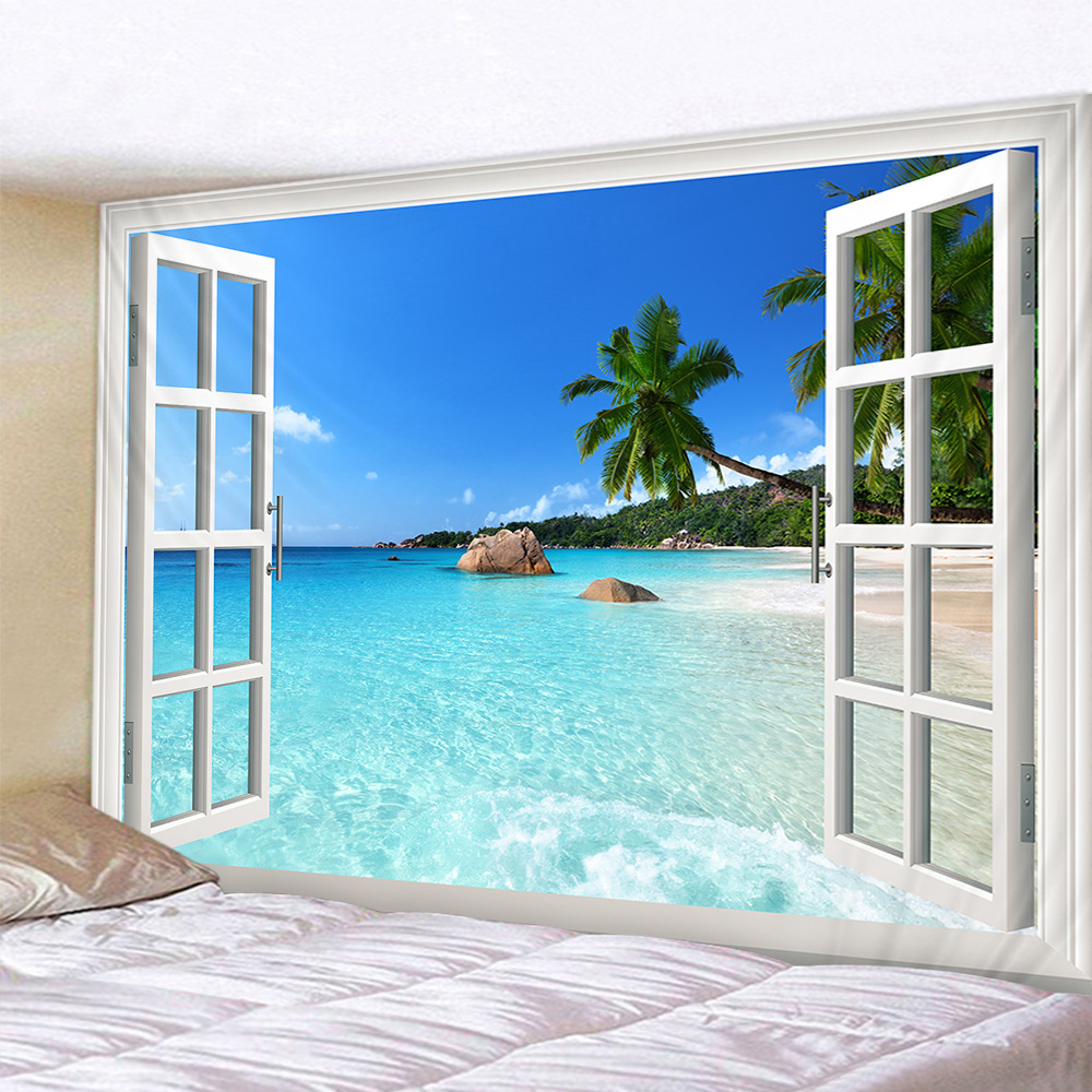 Beach Landscape Outside The Window 3d Tapestry Wall Hanging Bedroom Wall Fabric Hippie Tapestry Mandala Bohemian Decor Blanket