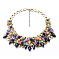 S Vex Fashion Thin Chain Collar Necklace Colorful Crystal Glasses Jewelry Personality Retro Punk Rivet Lady