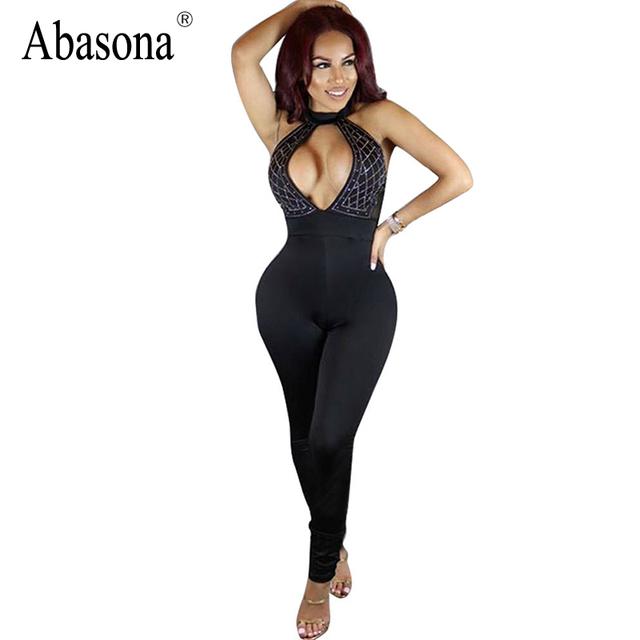 Abasona Diamantes peito aberto patchwork bodycon macacão Verão rompers mulheres jumpsuit Sexy macacão preto sem encosto para as mulheres