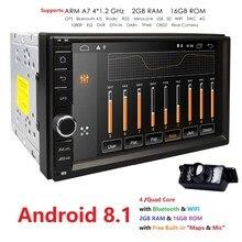 7 «двойной 2 Din Android 8,1 Media Player универсальный автомобильный Радио Стерео четырехъядерный процессор навигатор головное устройство руль 4 г Wi Fi CAM