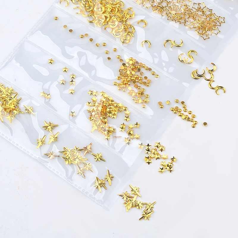 1 حزمة 3D مسمار الفن زينة الذهب الفضة مختلطة الجوف الإطار المعدني المحيط صدف معدنية ترصيع المسامير DIY مانيكير 065