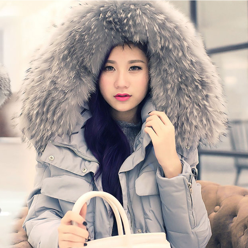 New 2015 Korean Girls Long Thick Slim Down Jacket Luxury Fur Collar Jacket Winter Coat women cloth 2015 new style korean version fur hood collar down jacket women winter long coak a word big yards thick slim coat pj013