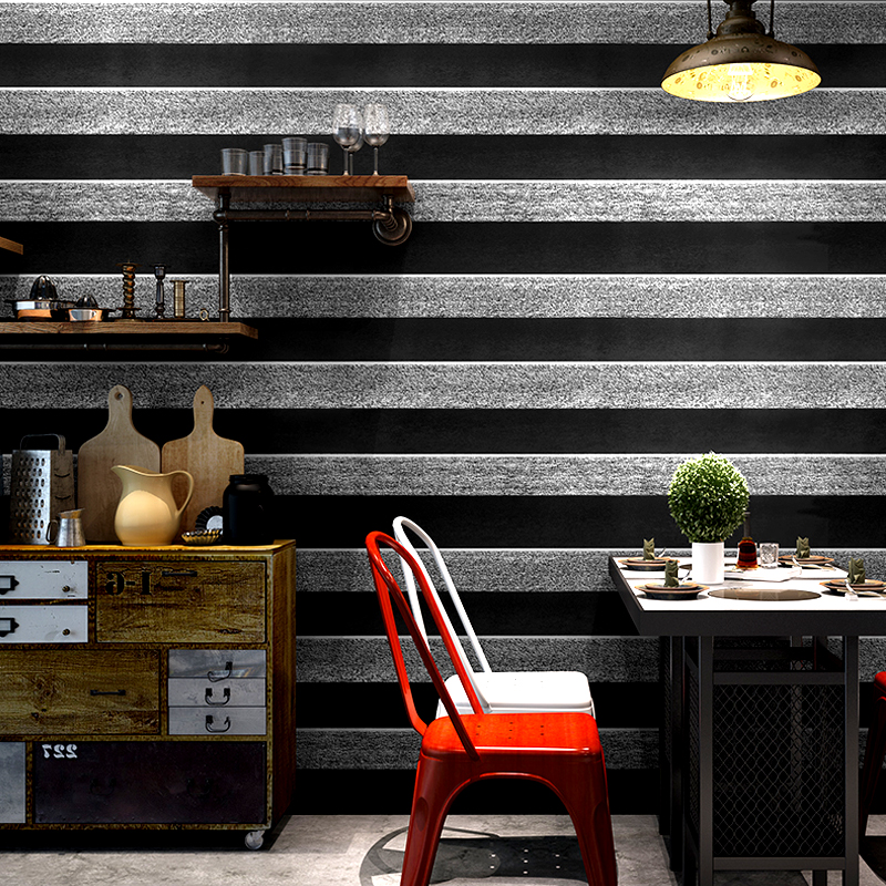 Retro Nostalgic Black And Gray Strip 3D Stereoscopic Wallpaper New Design Cafe Loft Industrial Wallpaper Background wallRetro Nostalgic Black And Gray Strip 3D Stereoscopic Wallpaper New Design Cafe Loft Industrial Wallpaper Background wall