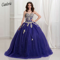 Plus Size Vestidos Debutante Dark Royal Blue Ball Gown Quinceanera Dresses With Gold Lace Applique 2019 Puffy Sweet 16 Dress