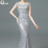 Real Photo Bead High Quality Crystal Sequins Mermaid Bodice Bandage Long Dress Party Elegant Silver Color Vestido De Festa Gowns