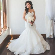 Long White Ivory Vintage Mermaid Sweetheart Organza Tiered Lace Wedding Dress 2019 Boho Sofuge Vestido De Noiva Dubai Arabic