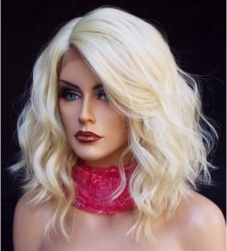 цена на 2018 Fashion Lace Front Wig Women Short Platinum Blonde Wavy Lace Synthetic Hair