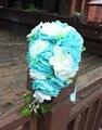 Тиффани Синий Свадебный Букет Дешевые Водопад Искусственный Свадебные Цветы Свадебные Boquets Розе Букет Невесты Наручные Цветок 2016