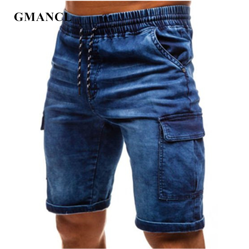 Men Streetwear Summer Loose Side Pocket Blue Denim Short Fashion Bermuda Hip Hop Male Solid Color Casual Joggers Jeans Shorts
