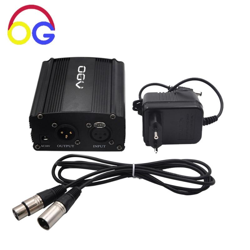 48V Phantom Блок живлення з адаптером, BONUS + XLR 2M Мікрофонний кабель для будь-якого конденсаторного мікрофона
