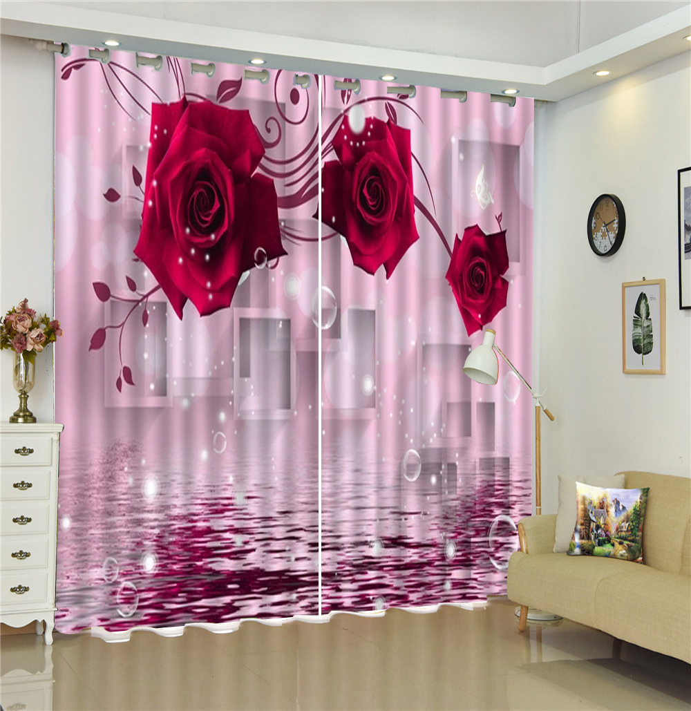 Custom 3D Curtain Dreamy Three Red Roses On The Water Living Room Bedroom Beautiful Practical Blackout Curtains in Curtains from Home Garden