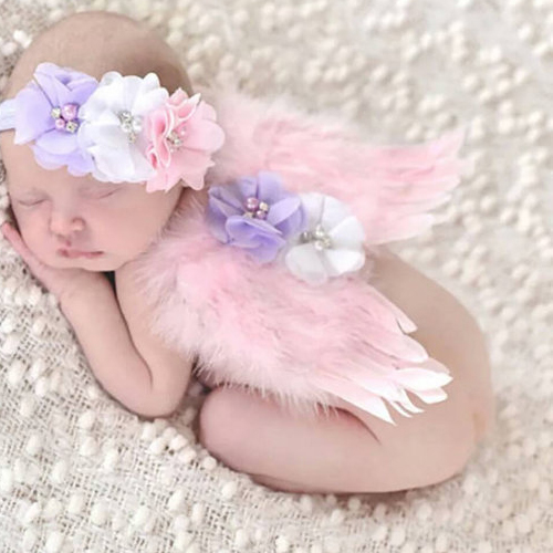 Lovely newborn photography prop outfit fotografia infant accessories baby girls headband angel wings sets for photo shoots