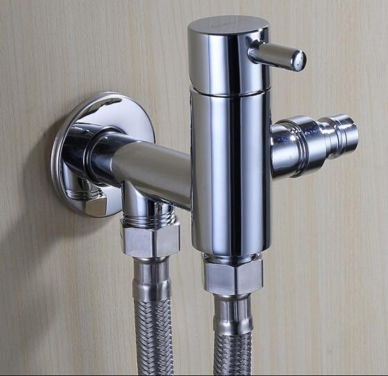 Double Use Brass Garden Faucet Brief Chrome Bib Cocks Faucet Washing  Machine Faucet Copper Out Door Faucet