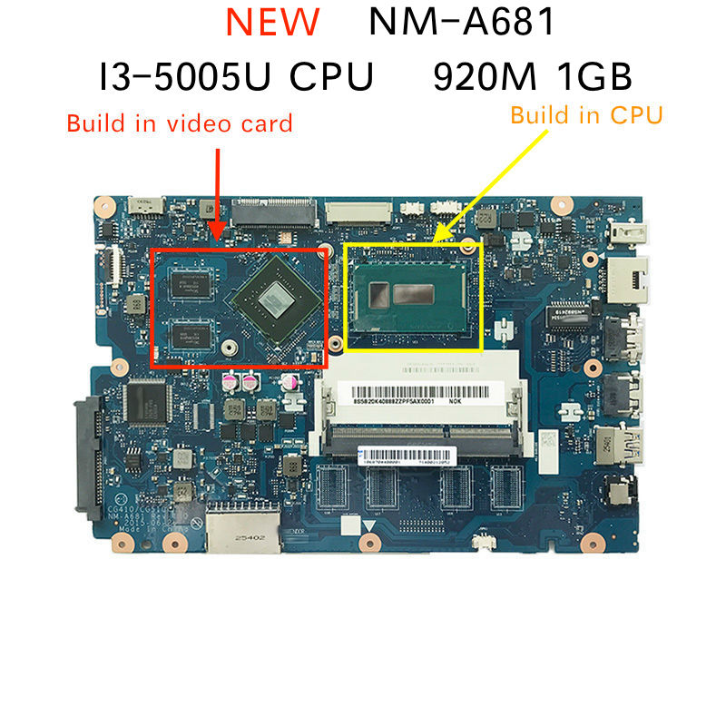 5B20K25385 for Lenovo 100-15IBD CG410/CG510 NM-A681 Notebook Motherboard with <font><b>SR27G</b></font> I3-5005U CPU 920M 1GB GPU image