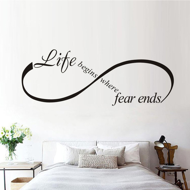 Bedroom Wall Quotes Life Begins Where Fear Ends Art Design Vinyl Lettering Quotes  Bedroom Wall Quotes