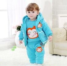 Высокое качество зимой ребенка комплект обезьяна куртка + + брюк 3 шт. теплая новорожденный одежда экипировка