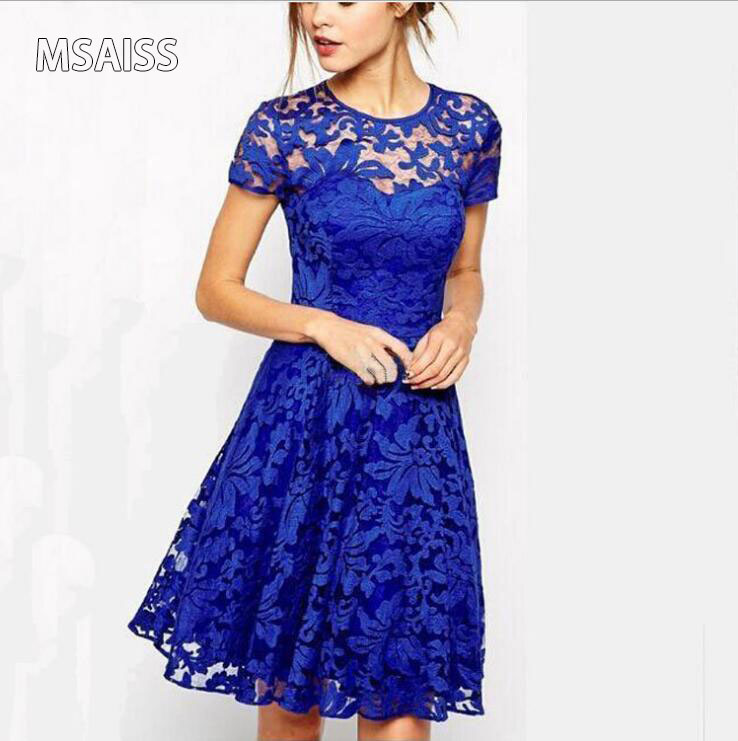 MSAISS Elegant Lace Crochet Flower Vintage Women Summer Dress Plus Storlek S ~ 5XLFeminino Party Vestidos de festa 3Solid Färg Dres
