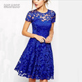 MSAISS Elegant Lace Crochet Flower Vintage Women Summer Dress Plus Size S~5XLFeminino Party Vestidos de festa 3Solid Color Dres
