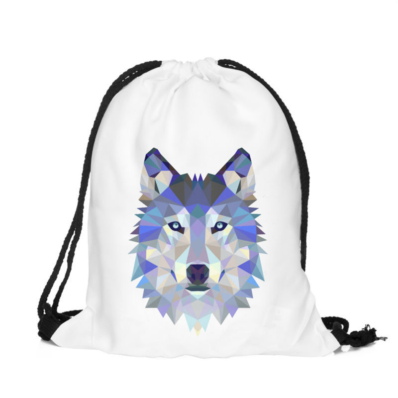 18PCS LOT Drawstring Bags Wolf 3D Printing Travel Backpack Portable Multifunctional Pouch Polyester Reusable Pouch Wholesale