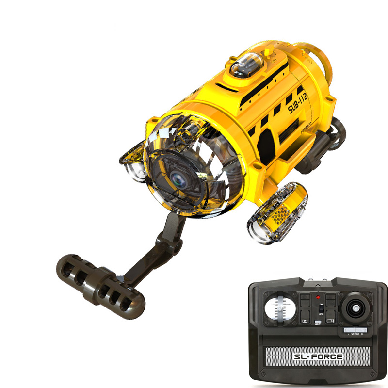 High Tech RC Submarine with 0.3MP Camera and Light and Feeding Fish Tool Remote Mini Underwater Drone for Kids Gift