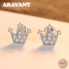 New Arrival 925 Sterling Silver Small Earrings Korean Lovely Princess Crown Girl Jewelry