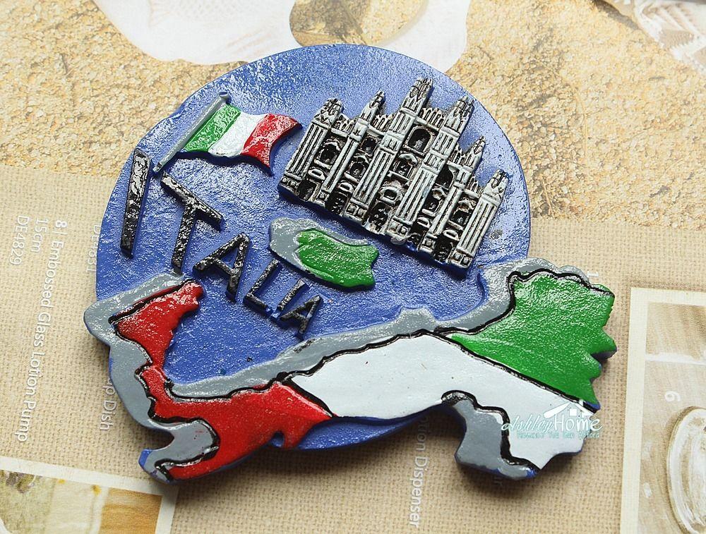 Italia Map Milan Cathedral Italy Tourist Travel Souvenir 3D Resin Fridge Magnet Craft
