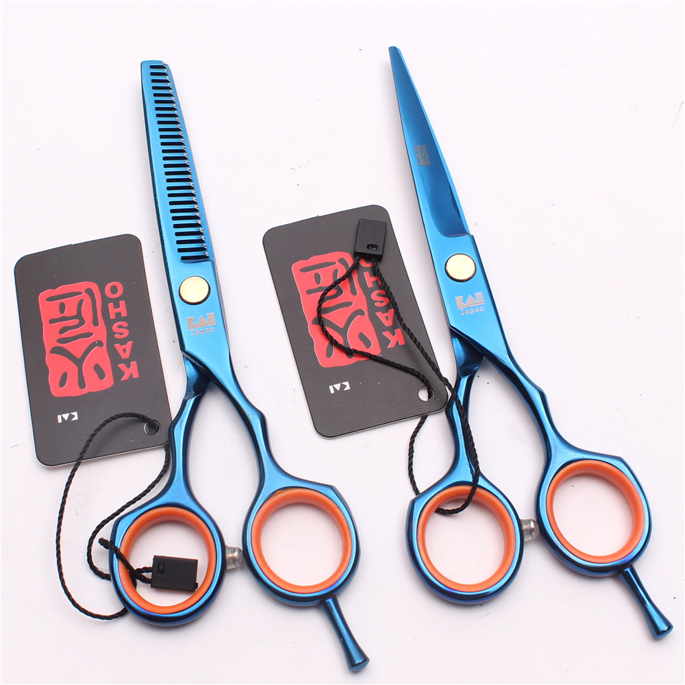 5.5″ 16cm Japan Blue Color Kasho Cutting Shears Thinning Scissors Barber Shop Haircuts Professional Hairdressing Scissors H1004