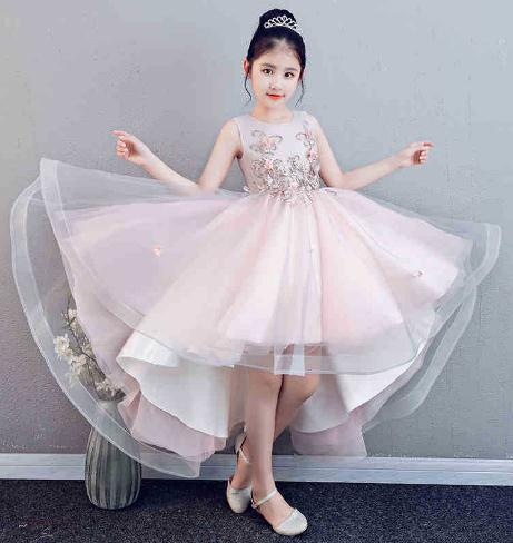 2018 High Quality Handmade Flower Baby Girl Dress Child Sleeveless Butterfly Pink Flower Ball Gowns Kids