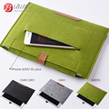 New Wool Felt For iPad air 5/6 liner sleeve, high quality Notebook case For iPhone 6plus Laptop leather&woolfelt Handy Bag
