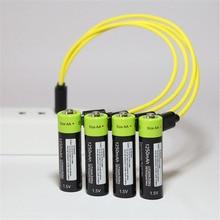 Batería recargable ZNTER AAA 1,5 V 400mAh batería recargable USB batería Universal de polímero de litio con Cable Micro USB