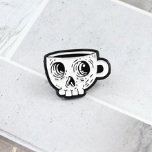 Simple Skull Coffee Cup Brooch Gothic Cartoon Cup Skeleton Enamel Lapel Badge Denim Dress Accessories Pin Children Friends Gifts(China)