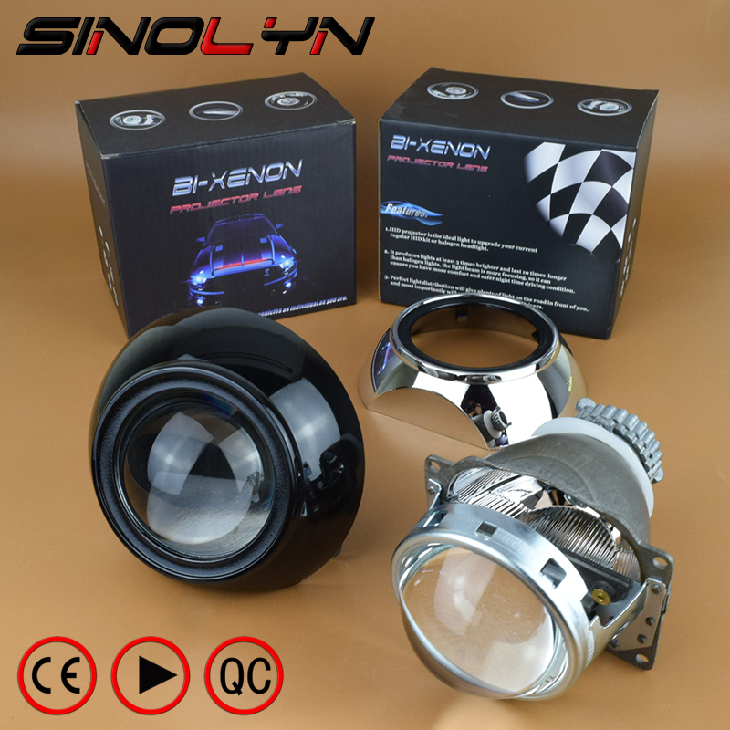 SINOLYN Automobiles Car Projector Lens for Headlight 3.0 inch HID Bi xenon Lamp W/ Black Chorme Iris Shrouds, Use D2S D2H Bulbs 1pc 2 5 hid xenon ultimate bi xenon projector lens parking car styling headlight diy lamp for h1bulb with shrouds h4 h7 socket