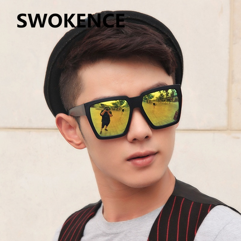 2728823215 SWOKENCE Brand Designer Large Size Sunglasses Men Women Classic Square Frame  Colorful Mirror Lens UV400 Driving