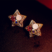 Фотография Crazy Sales Fashion Hot Colorful Rhinestone Stars Stud Earrings