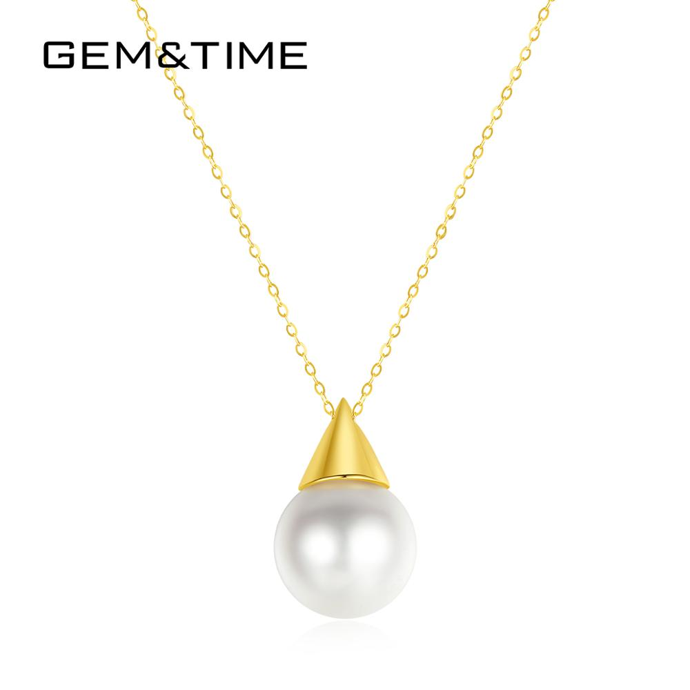 Gem&Time Genuine 18K Gold Nagoya Japan Necklace Freashwater Pearl Pendant Necklace For Women Gold 18K Engagement Jewelry N18029(China)