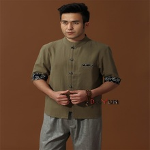 Discount Green Chinese Men's Cotton Linen Classic Kung Fu Shirt Chinese Button Costume Tang Suit Size S M L XL XXL XXXL